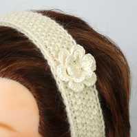 Cream hairband womens headband handknit from pure British wool with crochet flow