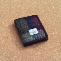 Wallet fabric billfold Harris tweed wine red olive green gift for men