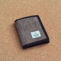 Harris tweed wallet brown herringbone billfold gift for men