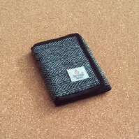 Harris tweed wallet grey herringbone wool fabric billfold