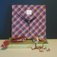 Harris Tweed clock purple orange check handwoven wool fabric square clock