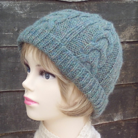 Women's beanie green hand knitted ladies hat soft British wool cable design