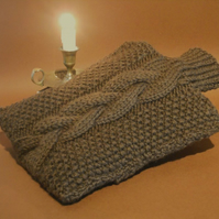 Hot water bottle cover hand knitted soft brown pure British wool.