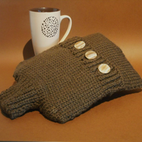 British wool hot water bottle cover hand knitted soft brown pure wool.
