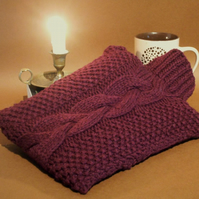 Hot water bottle cover hand knitted pure British wool dark wine red