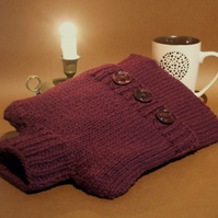 British wool hot water bottle cover hand knitted pure wool dark wine red