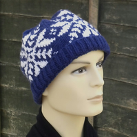 Knitted hat, Fairisle beanie hat hand knit from soft British wool, mens hat