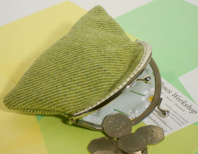 Donegal tweed coin purse green fabric makeup bag gifts for girls