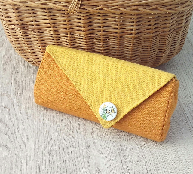 Donegal tweed clutch handbag purse yellow orange autumn accessories