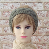 British wool green hairband ladies knitted headband hand knit earwarmer