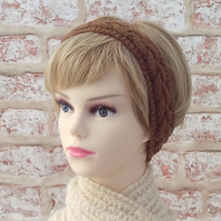 Manx Loaghtan British wool brown hairband ladies knitted headband earwarmer