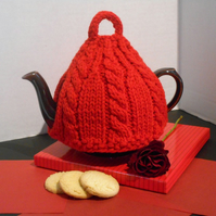 Tea cosy in bright red pure British wool hand knitted tea cozy