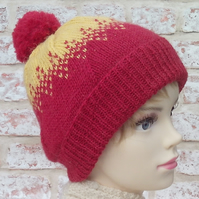 Red and yellow bobble hat pure British wool Exmoor Horn winter ski hat