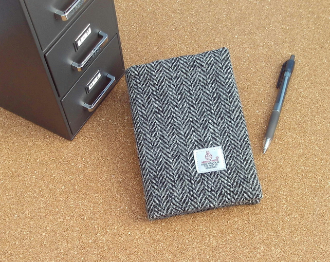 Harris tweed covered A6 size notebook diary grey herringbone fabric