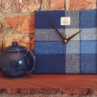 Harris Tweed square clock blue and white check fabric housewarming gift