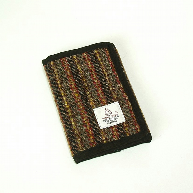 Harris tweed wallet grey and red striped wool fabric billfold