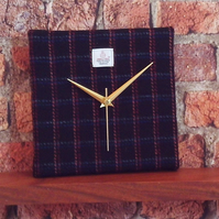 Harris Tweed square clock wall clock black orange lines