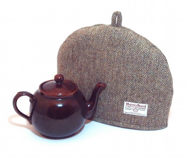 Harris Tweed tea cosy, teapot cover green herringbone fabric tea cozy.