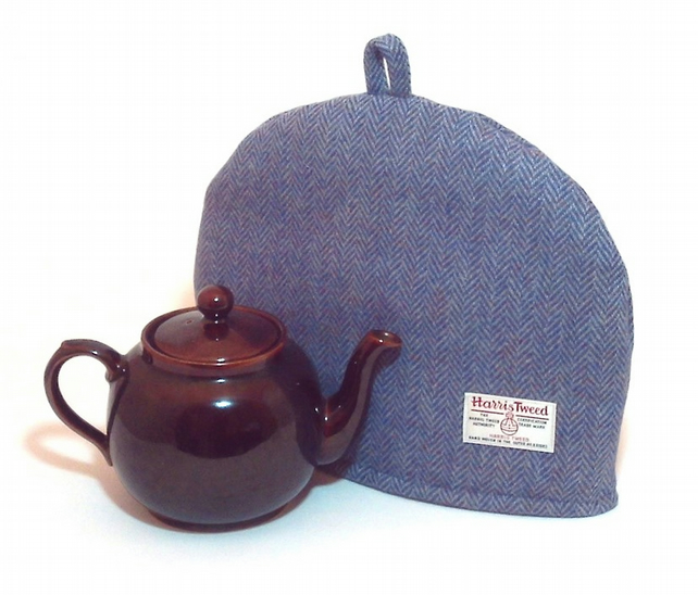 Harris Tweed tea cosy, teapot cover blue herringbone fabric tea cozy.