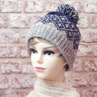 British wool knitted beanie womens hat grey blue fairisle bobble hat