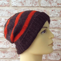Jacob sheep knitted mens beanie hat  British wool brown and orange