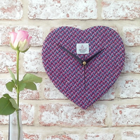Harris tweed heart shaped clock pink blue
