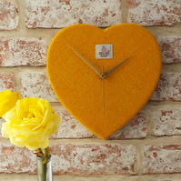 Harris tweed heart shaped clock orange yellow wedding gift golden anniversary