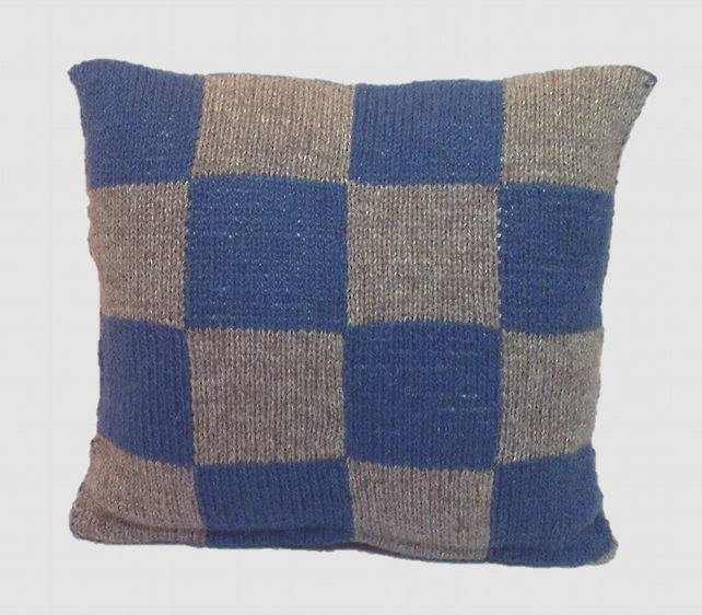 Shetland wool blue grey knitted cushion hand-knit squares pillow cover