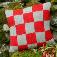 Shetland wool knitted cushion red grey hand-knit squares pillow cover