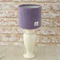 Harris Tweed small drum lampshade pink blue herringbone wool fabric lamp shade