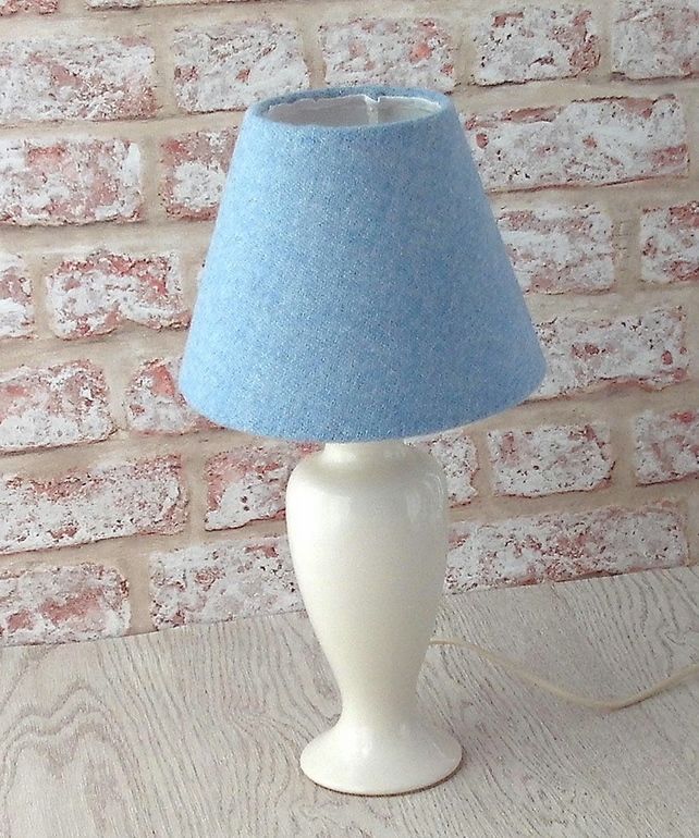 Harris Tweed cone lampshade light blue British wool fabric table lamp shade