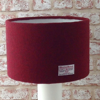 Harris Tweed drum lampshade dark red wool fabric table lamp shade