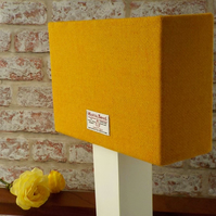 Harris Tweed drum lampshade orange yellow wool fabric table lamp shade