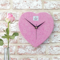 Harris Tweed heart clock pink and cream British wool fabric wedding gift