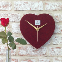 Harris tweed heart shaped clock dark red wedding gift ruby anniversary