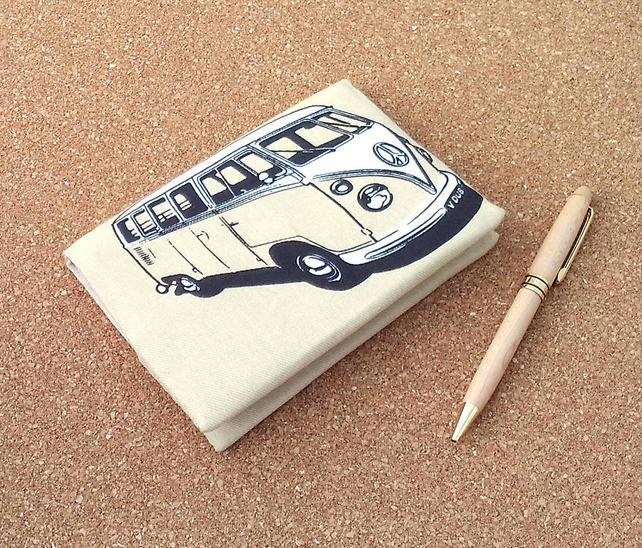 SALE Campervan cream fabric covered notebook A6 journal removeable cover