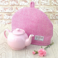 Harris Tweed tea cosy, teapot cover pink and cream herringbone fabric tea cozy.
