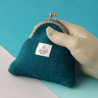 Harris tweed purse teal sea green kiss clasp purses gifts for women