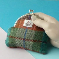 Harris tweed purse brick red turquoise green gifts for women