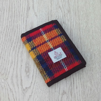 Wallet fabric billfold Harris tweed bright tartan check gift for men