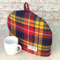 Harris Tweed tea cosy, teapot cover bright tartan fabric tea cozy.