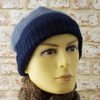 British wool mens slouchy beanie navy blue grey knitted hat