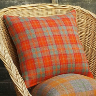 Harris tweed cushion cover bright orange and grey check handwoven British wool