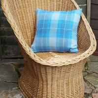 Harris tweed cushion cover bright blue and white tartan