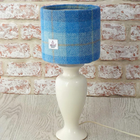 Harris Tweed drum lampshade bright blue and white wool fabric table lamp shade