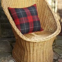 Harris tweed cushion cover deep red and black tartan