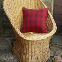 Harris tweed cushion cover bright red check
