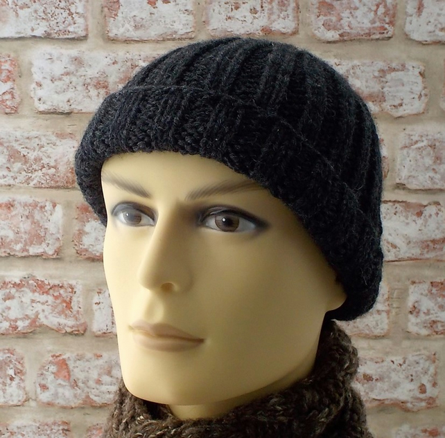 Mens knitted hat, chunky rib beanie hand knit from charcoal grey British wool