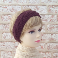 British wool maroon hairband ladies knitted headband wine hand knit earwarmer