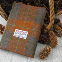 Harris tweed covered A5 notebook. Orange and brown tartan. Gifts for men